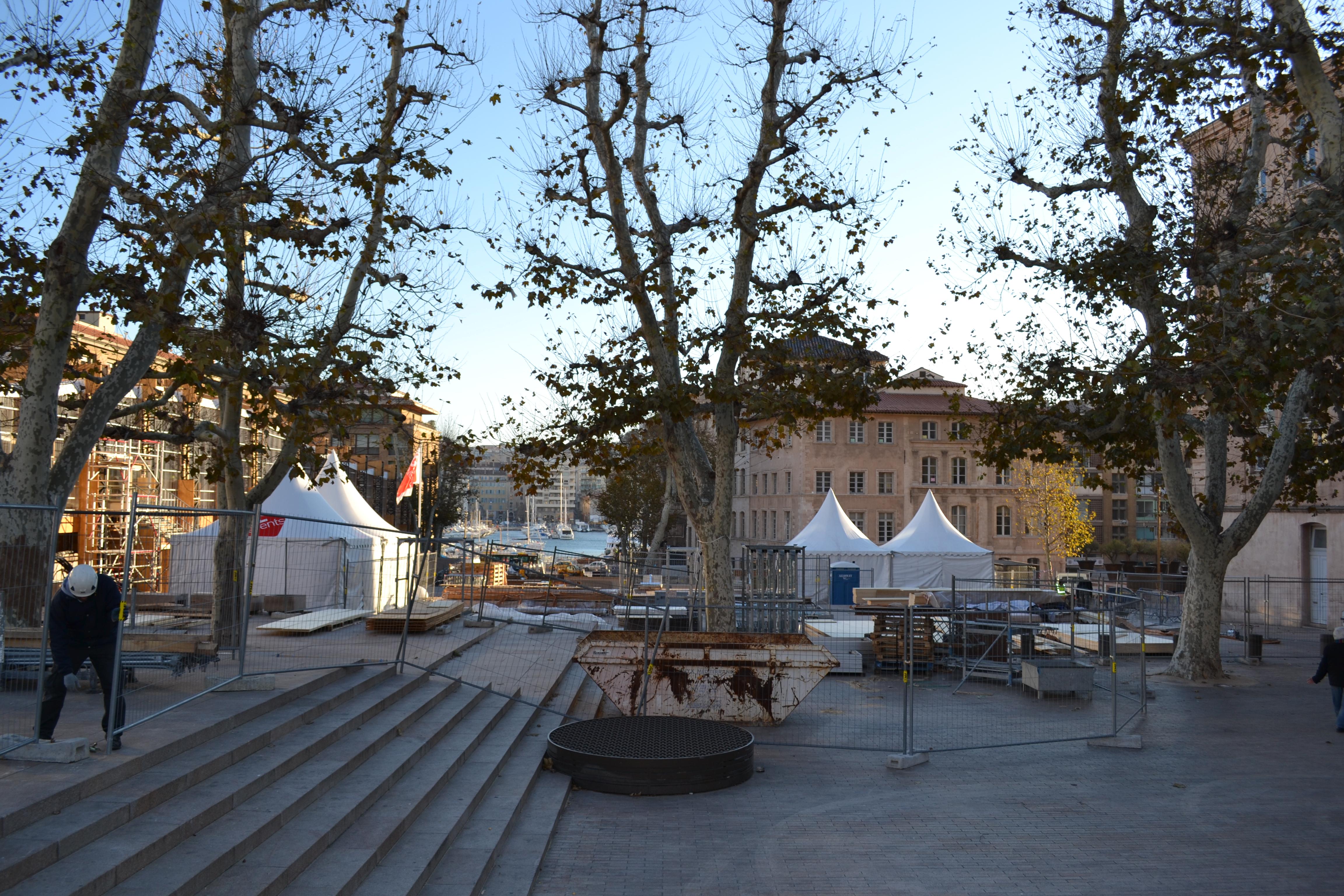 Avancée des travaux du Pavillon M sur la place Bargemon. Le 11 décembre 2012. ©MD