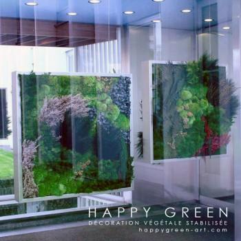 La décoration végétale avec des plantes stabilisées participe à l'isolation acoustique et thermique. © Happy Green