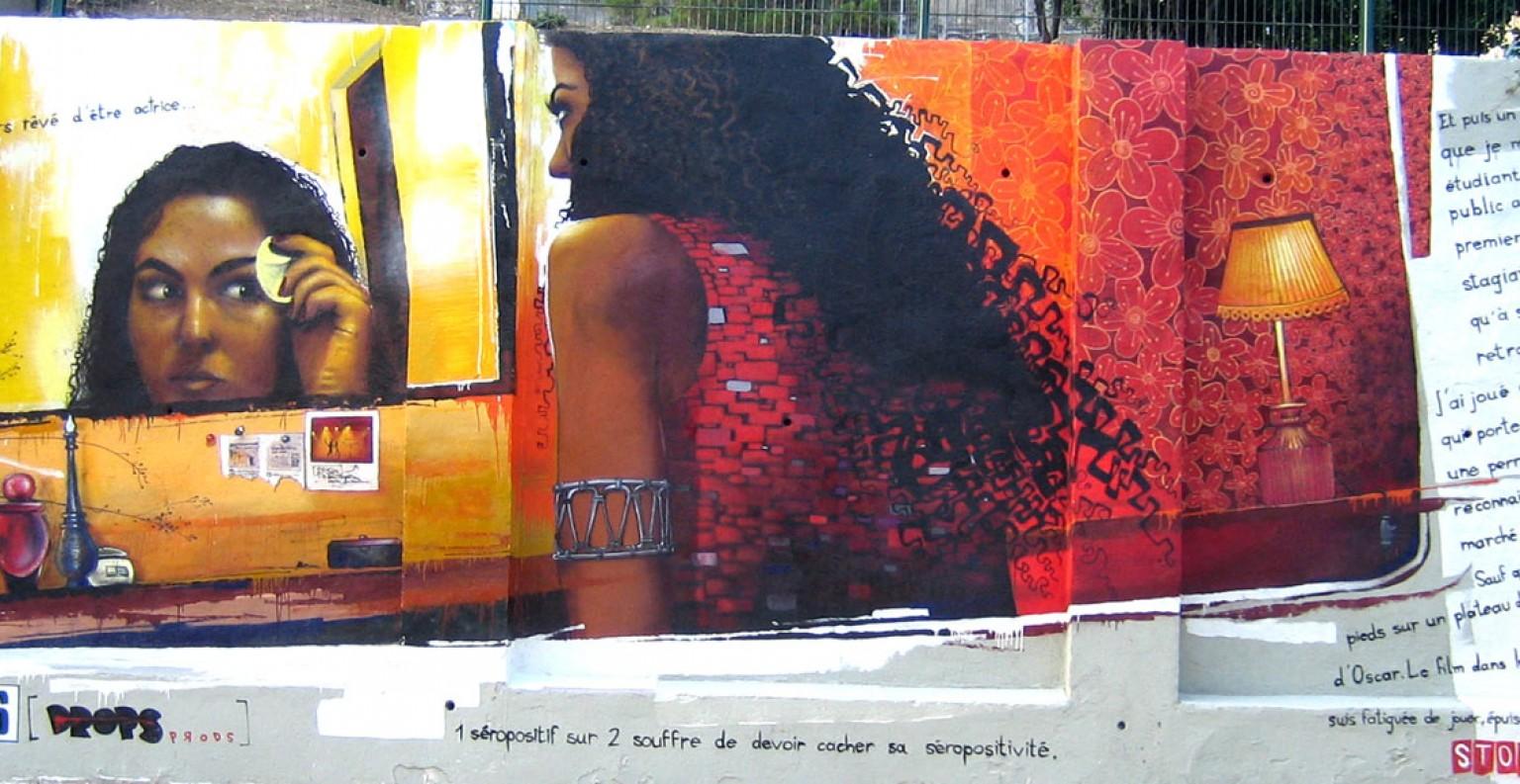 Création d'une fresque pour le sida.  © Lartmada