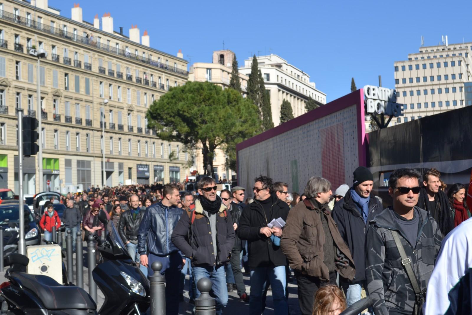 Manifestation pour le maintien du statut des intermittents du spectacle, à Marseille le 27 février 2014. ©MD