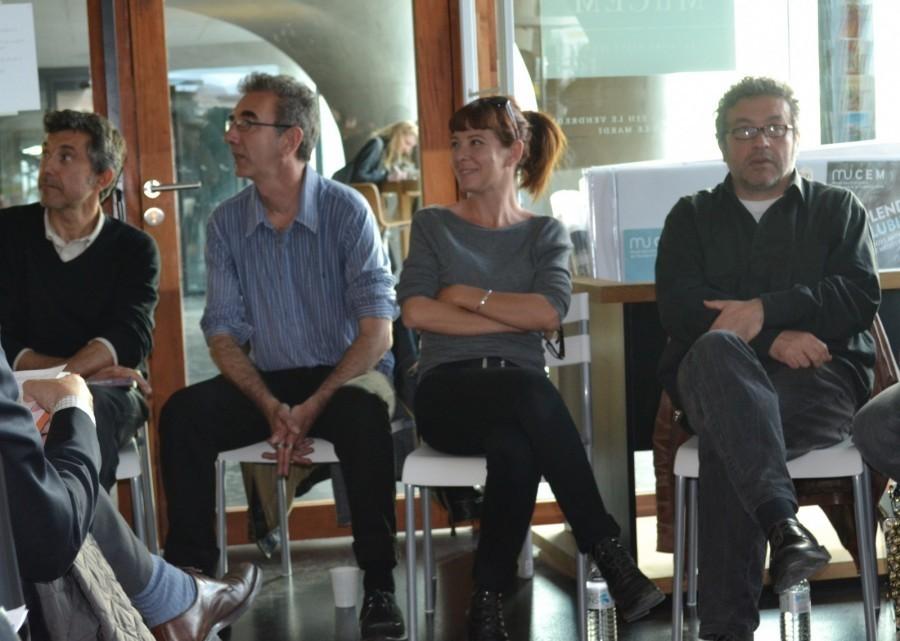 Quatre des quatorze auteurs ayant participé à l'écriture des nouvelles de Marseille Noir. De gauche à droite : Christian Garcin, Cédric Fabre, Marie Neuser et Patrick Coulomb ©MD