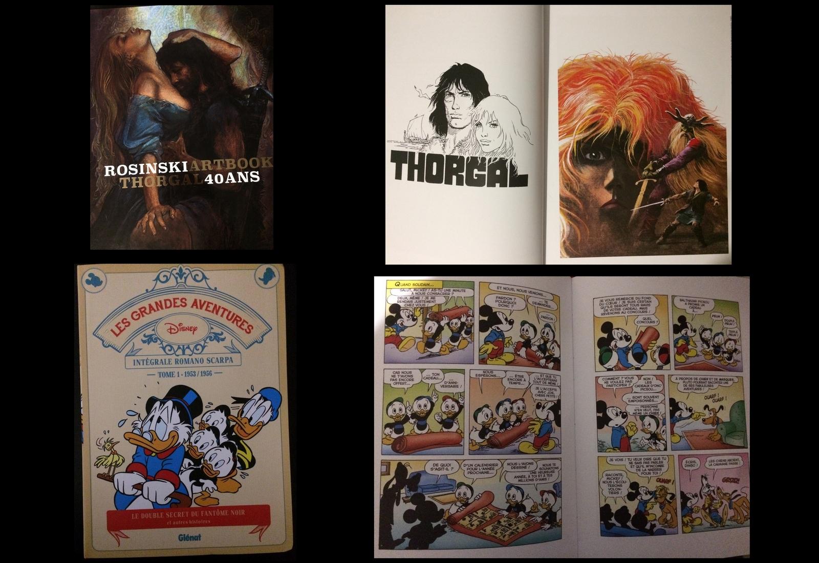 Artbook Rosinski Thorgal 40 ans (Le Lombard) et Les Grandes aventures Disney (Glénat).
