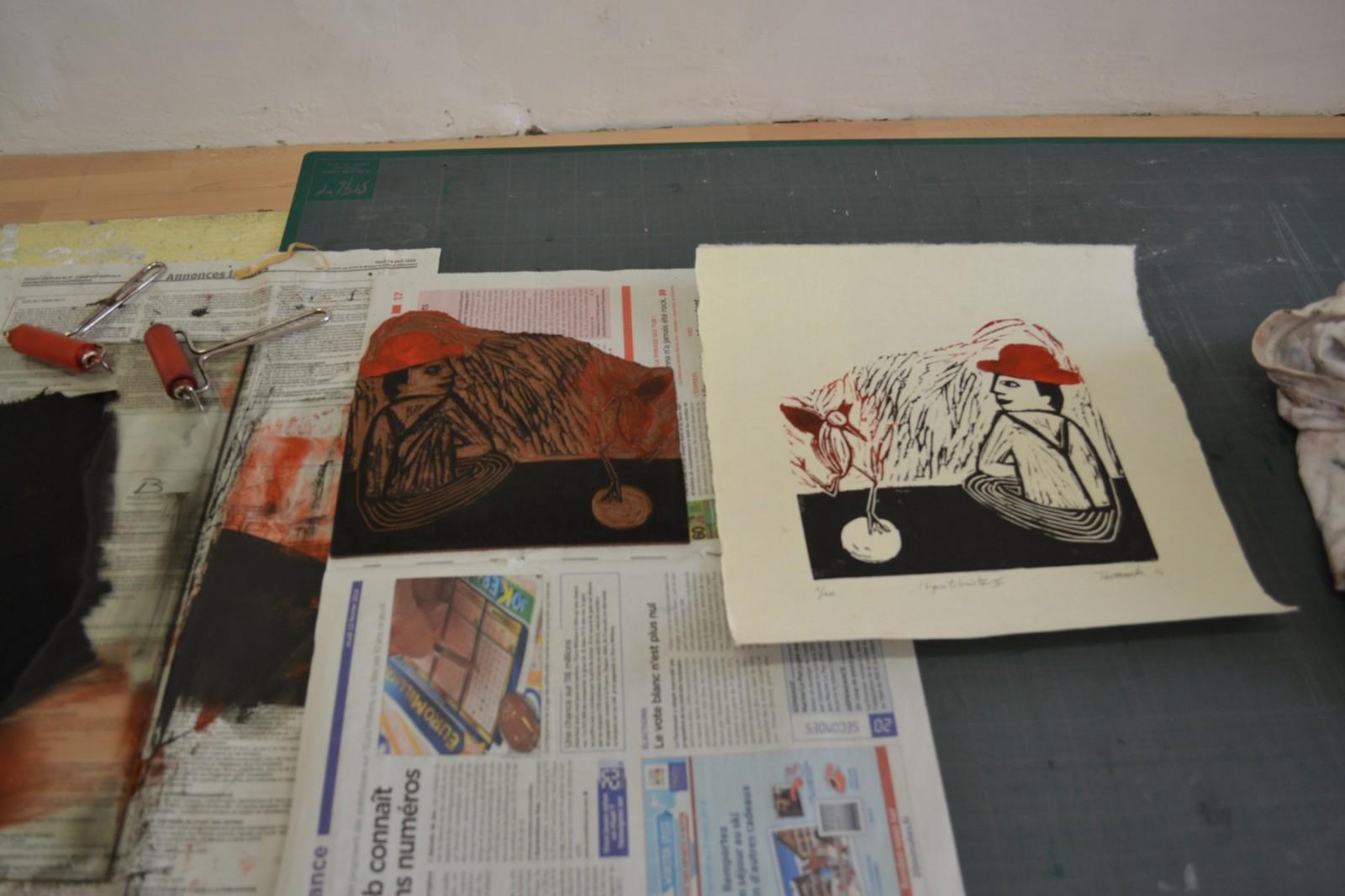 Une linogravure et son impression sur papier©MD