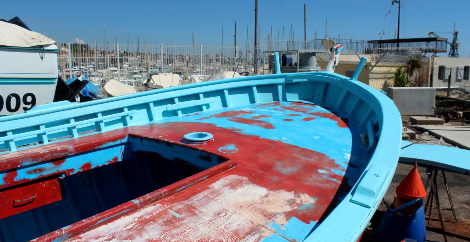 L'Espadon en restauration à la Société Nautique de l'Estaque à Marseille. ©AL