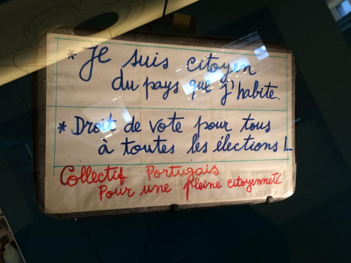 Revendication des immigrés portuguais en France, Musée National de L'Histoire de l'Immigration à Paris. ©MD