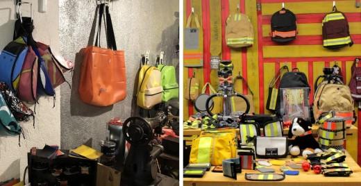 Élément Perturbateurrécupère des bouées crevées et des voiles de bateau et Firebags MTL recycle les tenues de pompiers et d'ambulanciers.©DR
